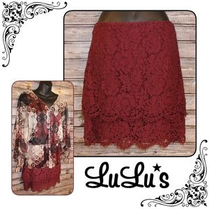 3/30<>Two Tiered Garnet Red Lace  Skirt by LuLu's